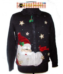 Black Santa Zip Up Christmas Sweater Size LARGE