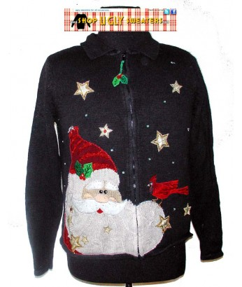 Black Santa Zip Up Christmas Sweater Size LARGE