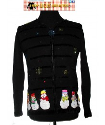 Black Zip up Sweater with snowmen and velvet trim Size SMALL or LARGE