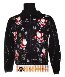 Black Zip up Santa Sweater