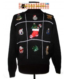 Black 9 Sequined Christmas Scenes Sweater