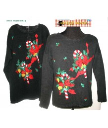 Black Candy Cane and Holly Christmas Sweater Size LARGE