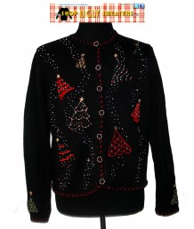 Black Beaded Christmas Trees Cardigan Sweater-XL
