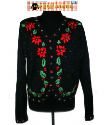 Black Pointsetta V-Neck Sweater with Gold Embellishments Size LARGE