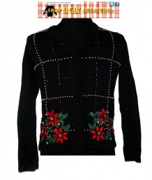 Black Pointsetta Sweater with Gold and Pearl Emllishments Size MEDIUM