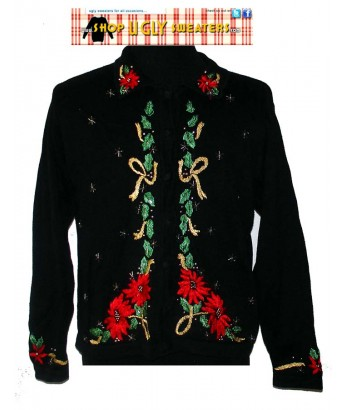 Black Collared Pointsetta Sweater with Gold ribbons Size LARGE