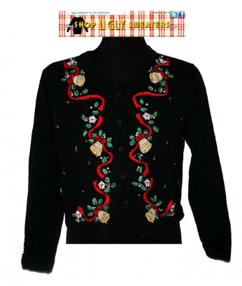Black  Pointsetta Sweater with red ribbions, gold stars & bells Size Petite MEDIUM