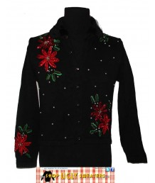 Pointsetta Sweater with Black Faux Fur Collar & Pearl Beading and Red Sequins