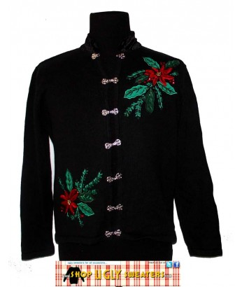 Black Pointsetta Sweater with Silver Hooks and Velvety Collar Size MEDIUM