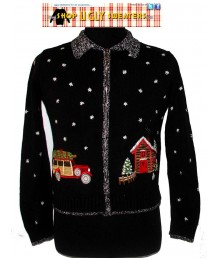 Black Zip Up Collared Sweater, Christmas Tree on Car Size MEDIUM