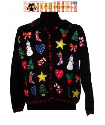Black Christmas Bonanaza Collared Cardigan Sweater with red trim