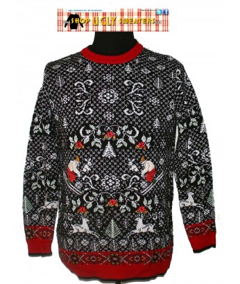 Black & White Sweater with skiers, deer, and red trim  Size LARGE