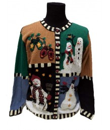 A Multicolored Snowman and Mittens button up cardigan
