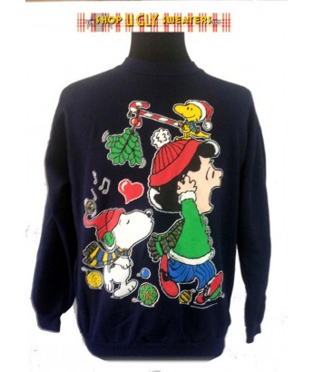 Blue Peanuts Singing Snoopy Sweatshirt Size LARGE