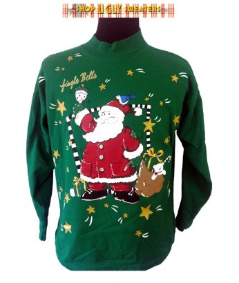 Green Jingle Bells Holiday Time Sweatshirt Size L