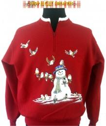 Bye Bye Birdie Snowman Zip-neck Sweatshirt  Size L