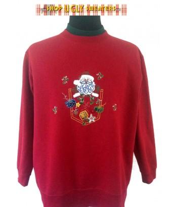 Red Blue Bearded Santa Sweatshirt Size XL