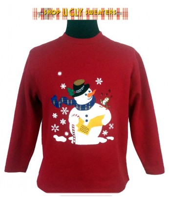 Red Snowman Serenade Sweatshirt Size Petite Medium
