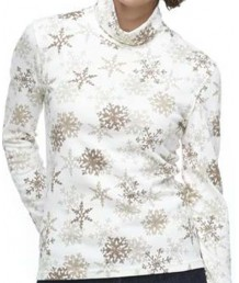 Beige Turtleneck with Gold Snowflakes