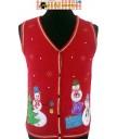 Red 3 Happy Snowmen Sweater Vest XL