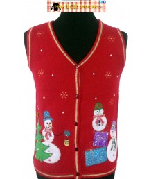 Red 3 Happy Snowmen Sweater Vest