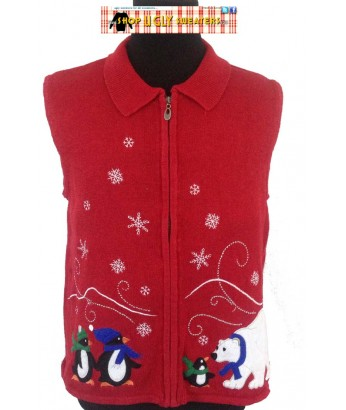 Red Collared Polar Bear Penguin Sweater Vest Size LARGE