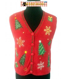Beaded Trees & Snowflakes Sweater Vest
