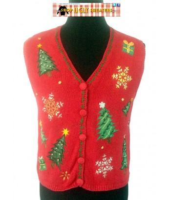 Red Beaded Trees & Snowflakes Sweater Vest Size MEDIUM