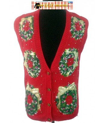 Red Vintage 1993 Knit Beaded Wreath Sweater Vest Size MED