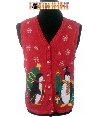 Red Double Penguins & Snowflakes Sweater Vest Medium