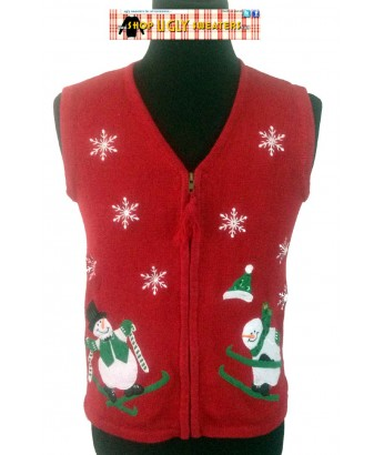 Red Skiing Snowman Tasseled Zipper Vest Size LARGE or S/M