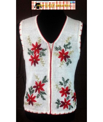 White Poinsettias Sweater Vest with red stitching Size MEDIUM