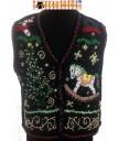Black Beaded Rocking Horse HoHoHo Sweater Vest - Large or XXL