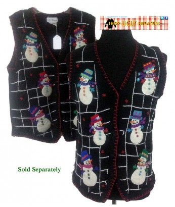 Black with White Stitching and Snowmen Sweater Vest