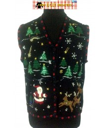 Black Puffy Santa with White Beaded Reindeer Sweater Vest Size XL