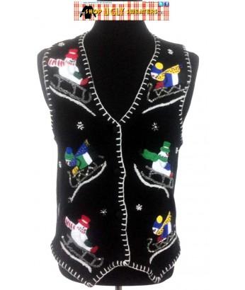 Black Sledding Snowmen Sweater Vest Size MEDIUM