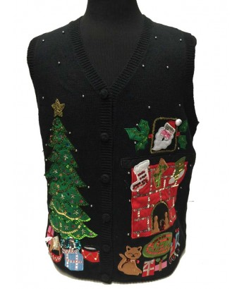 Black Christmas tree and kitty at the fireplace vest XXL - New with tags