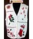 White Poinsettias JOY Sweater Vest Size XL