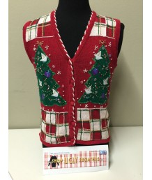 Red Christmas tree vest